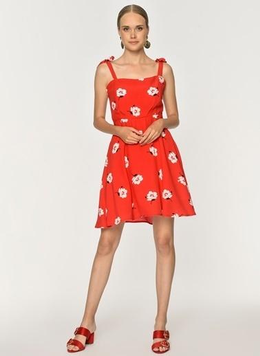 Loves You Askılı Çiçek Desenli Crep Elbise Kırmızı